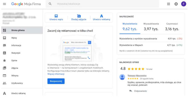 wizytówka google moja firma skuteczność