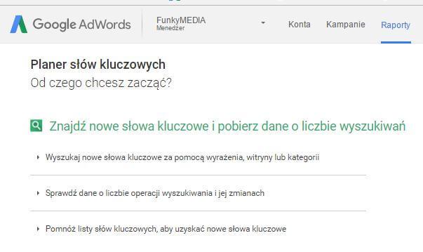 Adwords, raporty, słowa kluczowe