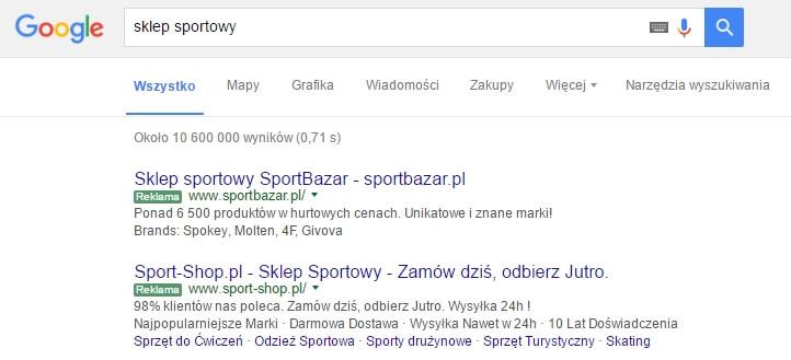 wyniki google