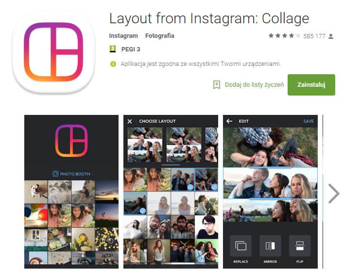 layout na instagramie