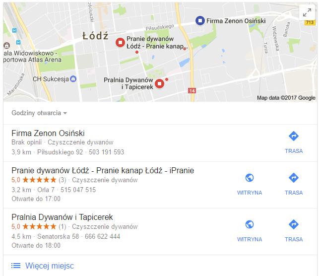 wizytówka firmy w mapach Google