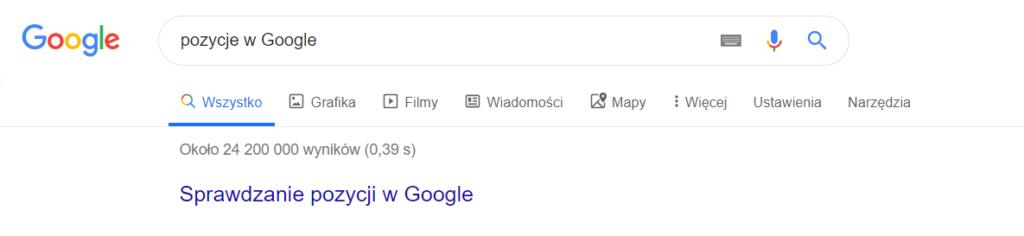 sprawdzanie pozycji w Google