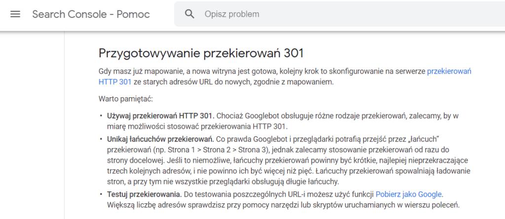 przekierowania 301 Google Search Console