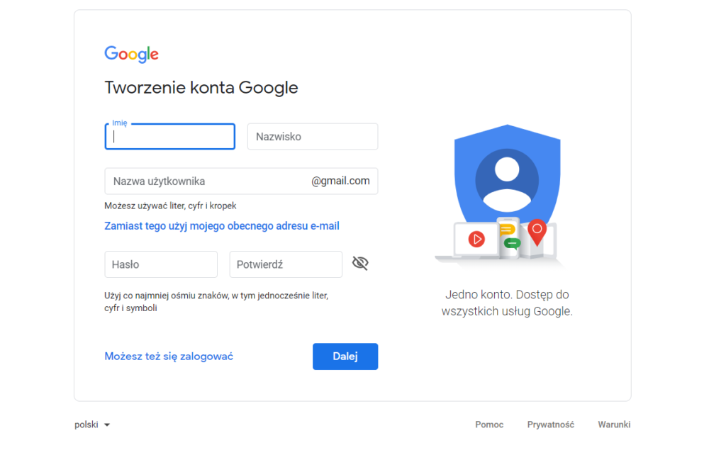 tworzenie konta Google Analytics