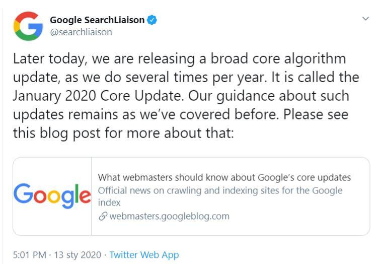 komentarz Google Saerch Liason odnośnie styczniowej aktualizacji algorytmu
