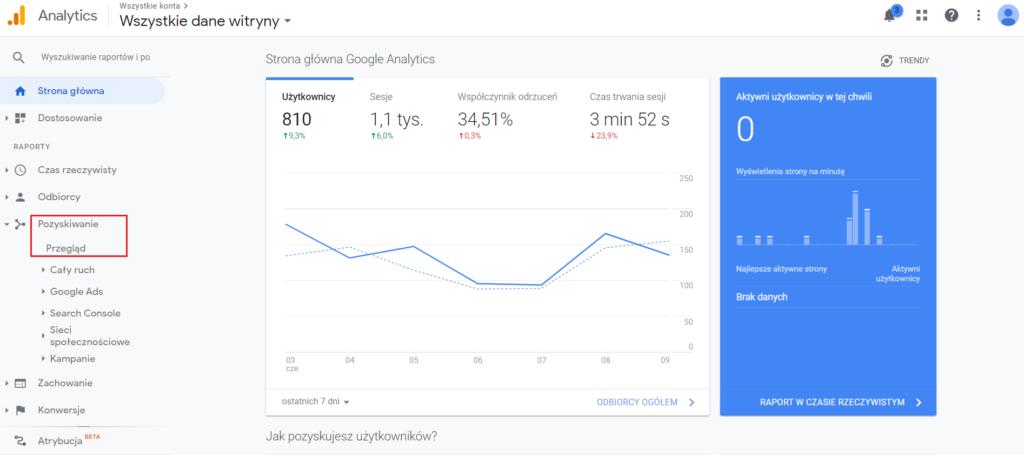 pozyskiwanie ruchu w Google Analytics