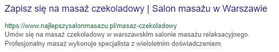 """Formułka meta description z frazą """"masaż czekoladowy"""""""
