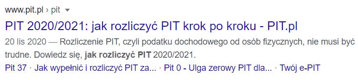 Title w wyszukiwarce Google