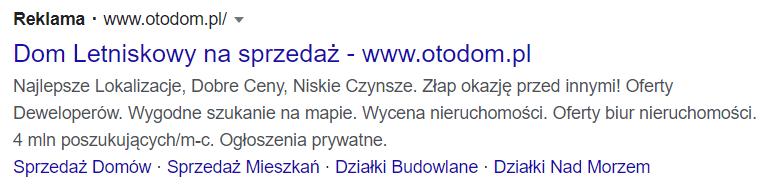 Opis kampanii reklamowej w Google