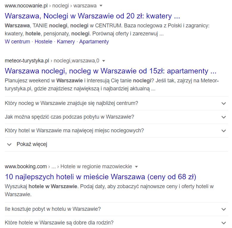 Wyniki wyszukiwania SEO
