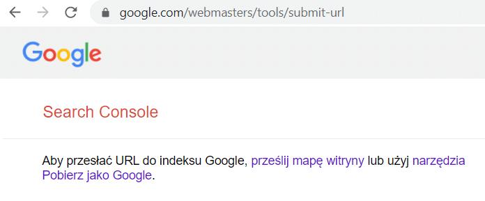formularz dodawania strony do indeksu Google