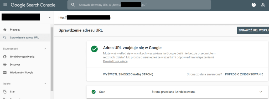Sprawdzanie adresu URL w Google Search Console