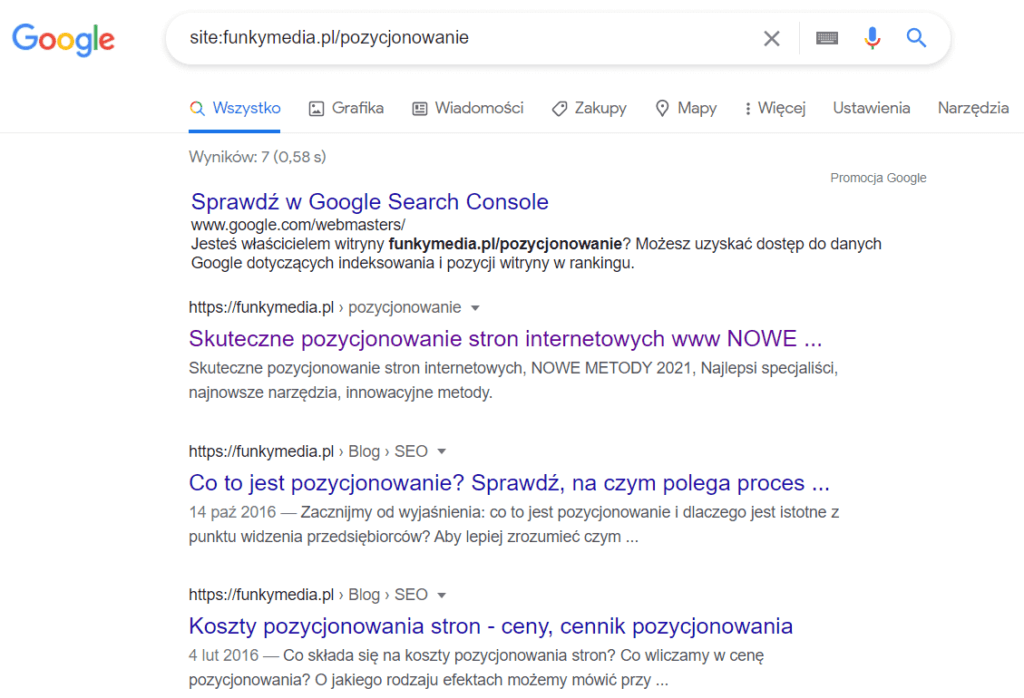 Jak sprawdzić, czy strona znajduje się w indeksie Google