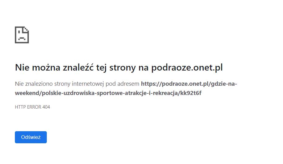Kod 404 not found na nowej stronie lub podstronie
