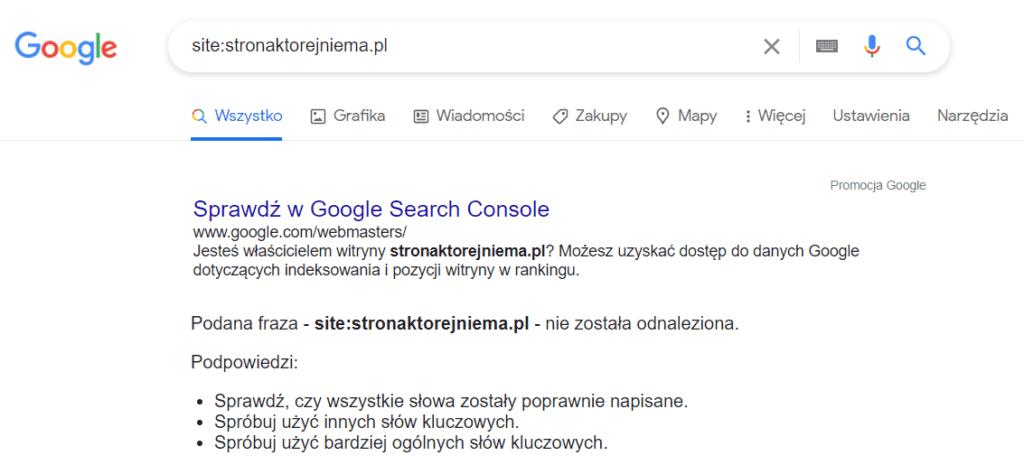 Sprawdzanie adresu w Google: site:nazwa-strony.pl
