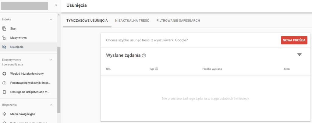 Tymczasowe zniknięcie strony z Google - wyindeksowanie w Google Search Console