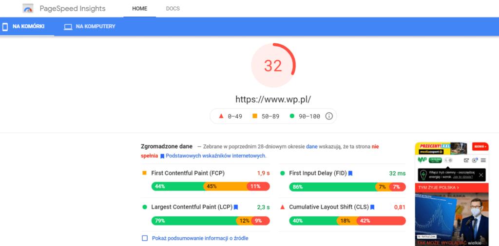 Weryfikacja szybkości wczytywania witryny