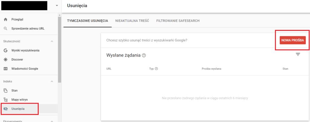 Jak tymczasowo usunąć stronę z wyników wyszukiwania? Google Search Console