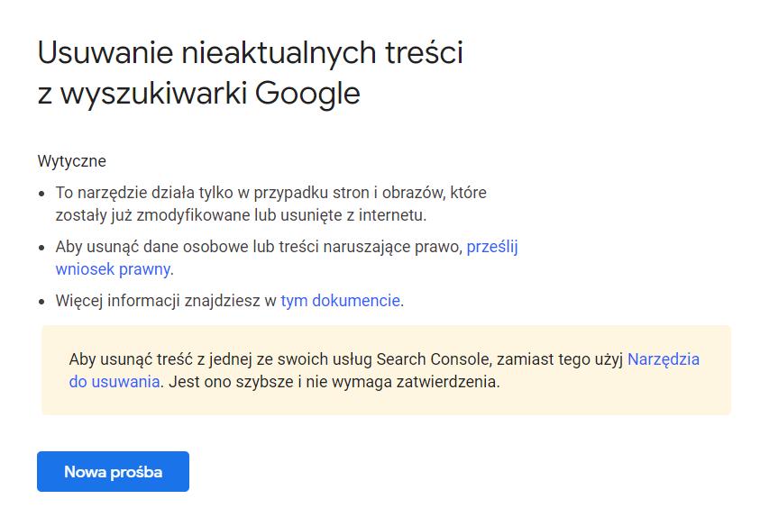 Jak usunąć stronę z wyszukiwarki Google, jeśli nie należy do kogoś innego?