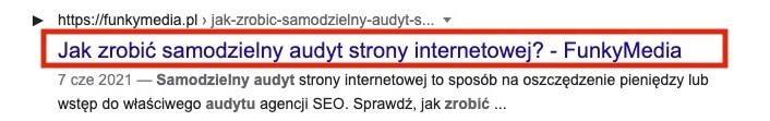 Meta title w wynikach wyszukiwania Google