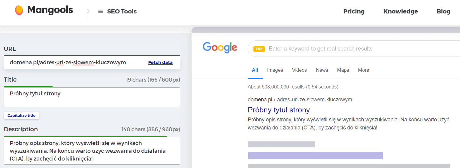 podgląd strony w wynikach wyszukiwania Google
