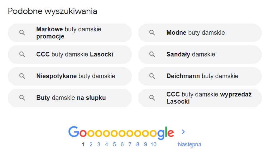 """""""Podobne wyszukiwania"""" - słowa kluczowe podpowiedziane przez Google"""